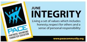 Pace Character Trait for June is Integrity. Thumbnail Image