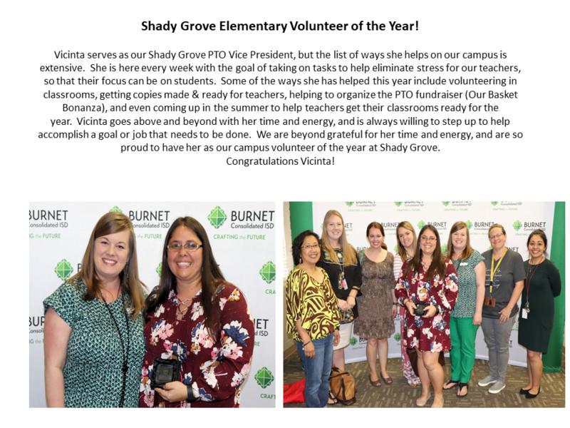 Shady Grove Elementary Volunteer of the Year - Vicinta Stafford! Thumbnail Image