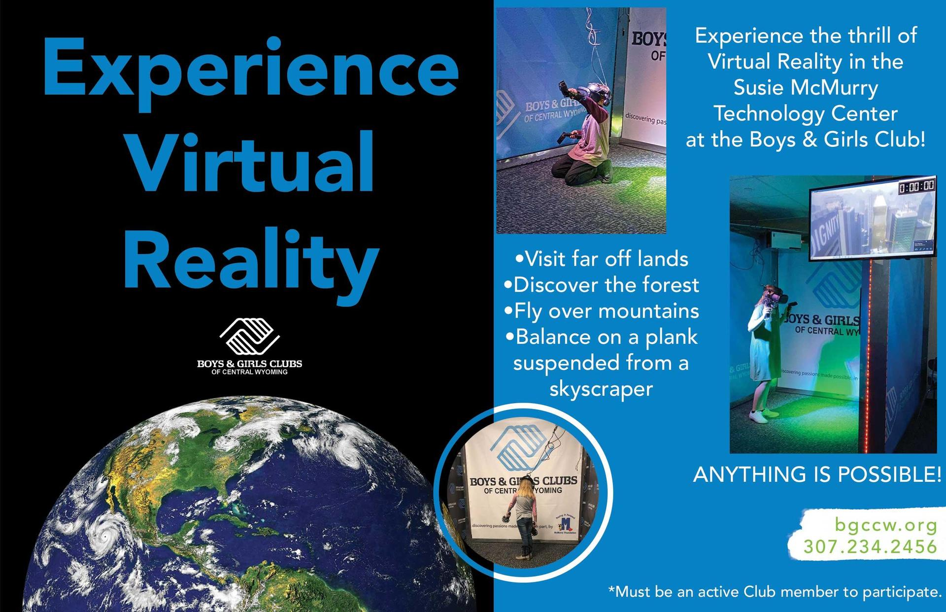Experience Virtual Reality at Boys and Girls Club Flyer