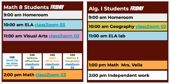 Friday Schedule 8, Algebra 1