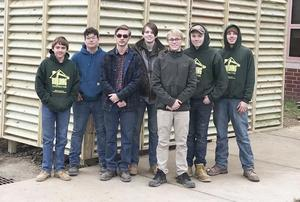 Mars Area High School students attending Butler County Area Vocational-Technical School, including Logan Wolf, Benjamin Gribble, Nelson Yingling, Alexander Whitcroft, Jesse Kutchko, Jason Hennessy and Shane Sawicki, built and installed a sound barrier around the HVAC system located behind Mars Area Elementary School.