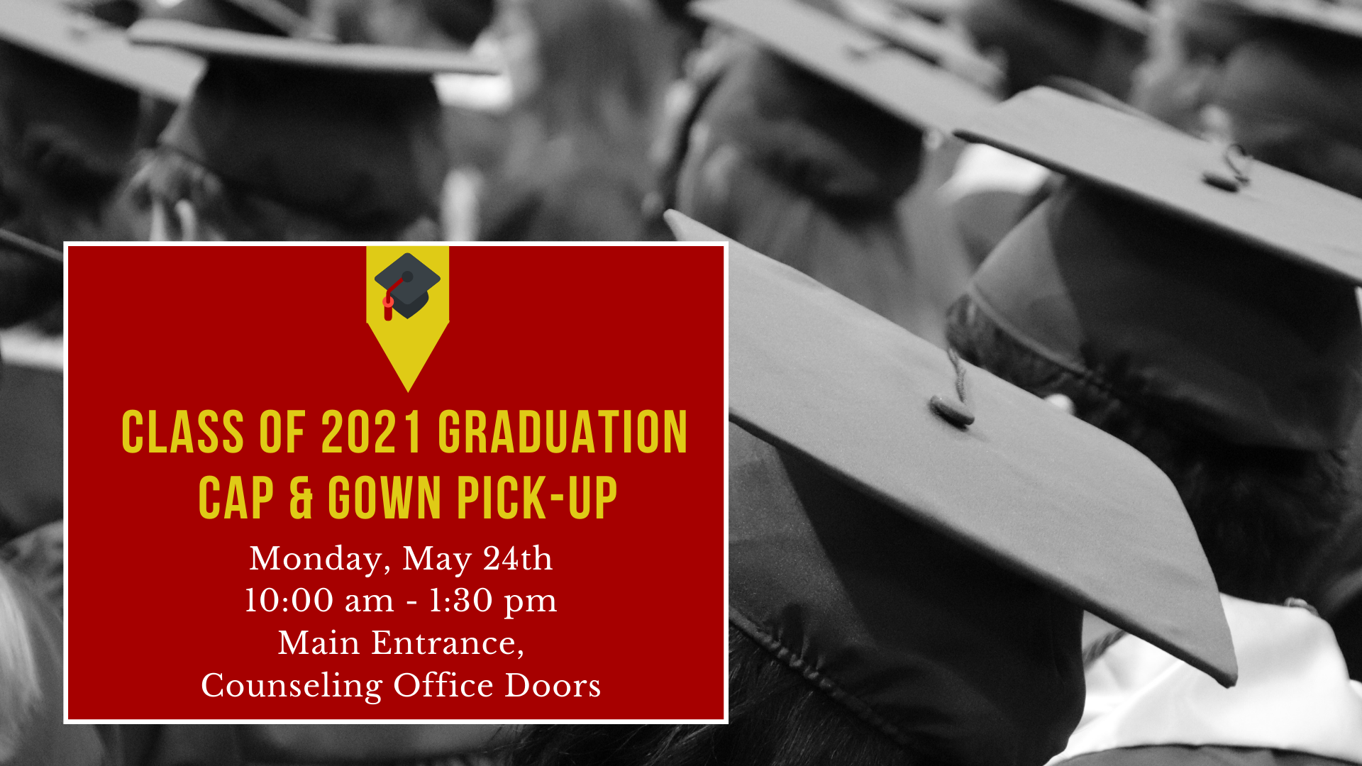 cap and gown pick-up
