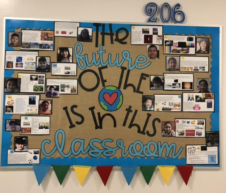 'The future of the world is in this classroom' bulletin board