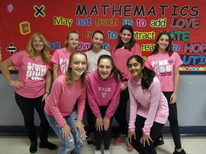 Photo of students and staff wearing pink for RIS annual Pink Out in recognition of Breast Cancer Awareness Month.