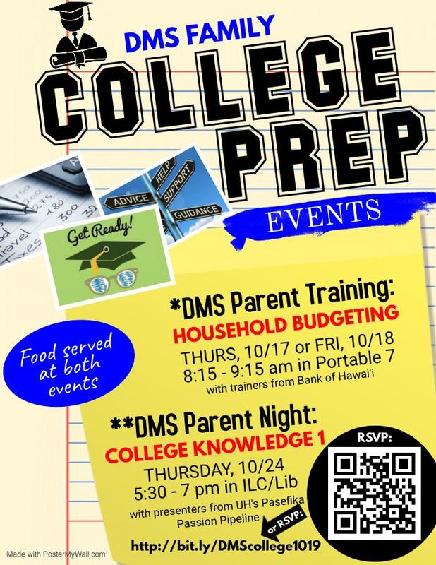Join us for these upcoming DMS and Kalihi Parent & Family Events Featured Photo