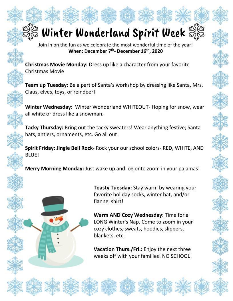 Winter Wonderland Spirit Week