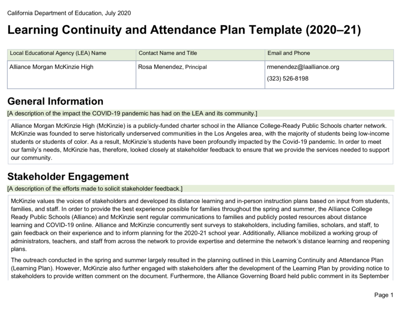 Learning Continuity and Attendance Plan 20-21