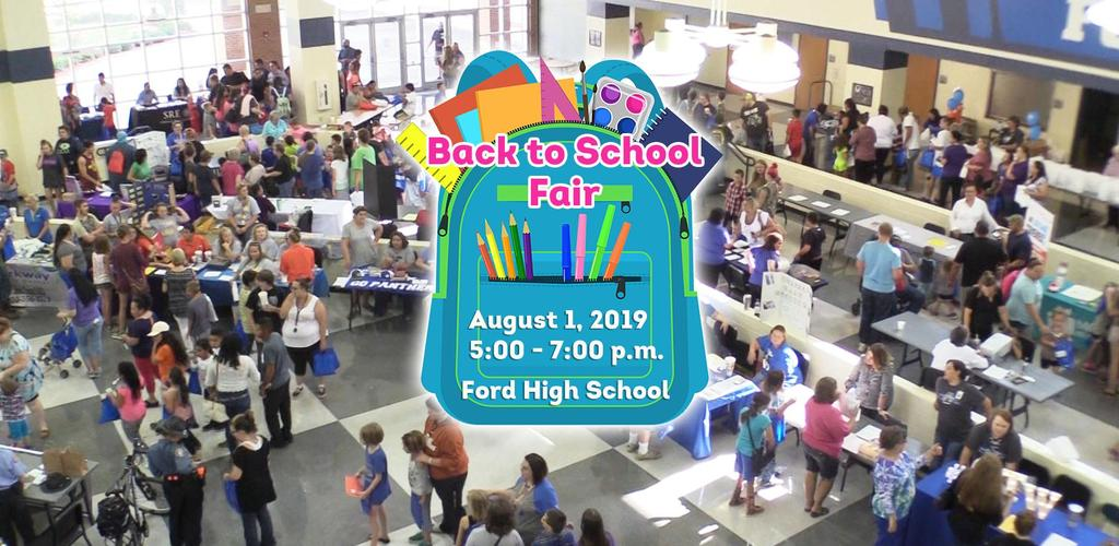 Pic of a crowd at the Back to School Fair.  Back to School Fair on August 1, 2019 from 5:00 - 7:00 p.m. at Ford High School