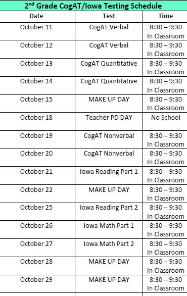 CogAT/Iowa Testing Schedule Featured Photo
