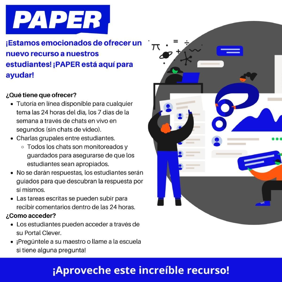 Recurso de tutoría para estudiantes en papel