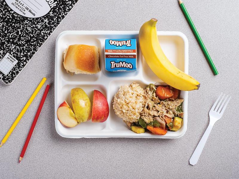a composition book, colored pencils on a table next to a public school lunch meal plate with bread, an apple, rice, vegetables and fruit