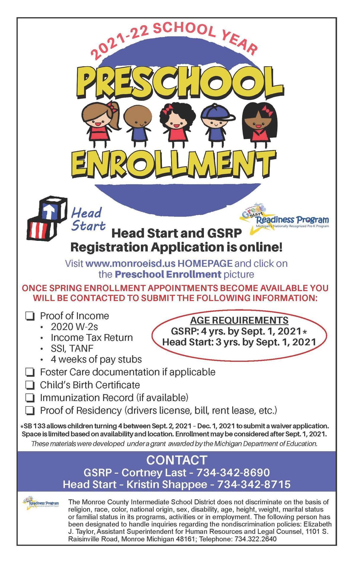 Preschool Enrollment GSRP Fall 2021