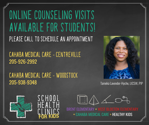 Flyer for online counseling for students available at Cahaba Medical