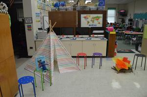 First grade set up for Reading Night.