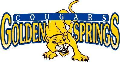 Golden Springs school logo featuring a cougar over the text