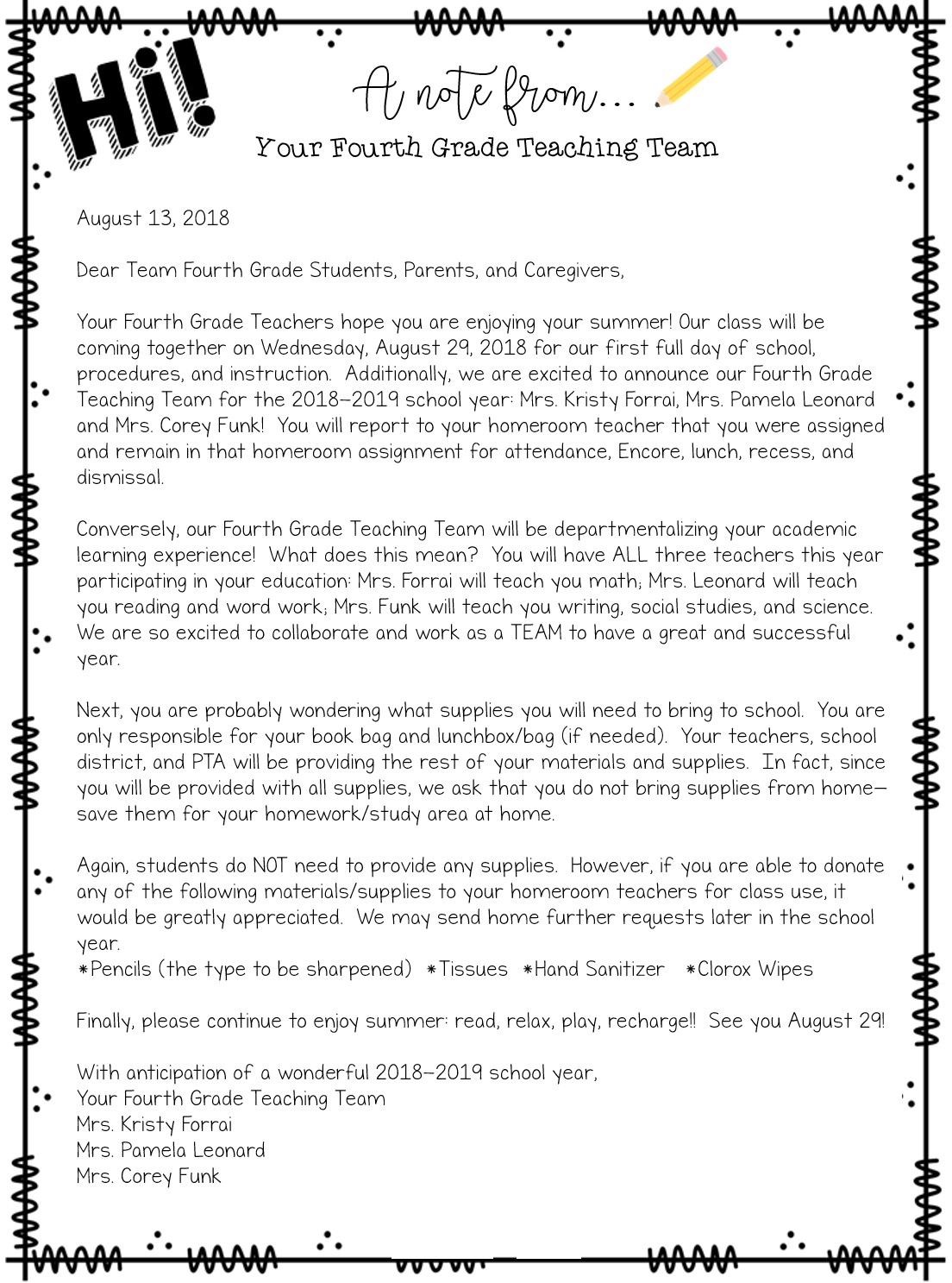 welcome letter kind kid name corey funk position 4th grade teacher