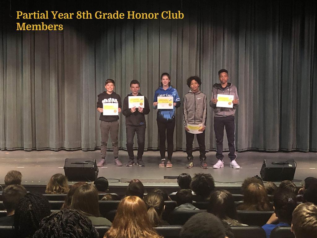 8th Grade Partial Year Honor Club Members