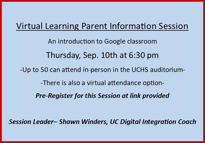 Virtual Parent Meeting on THURSDAY,  Sep. 10th Thumbnail Image