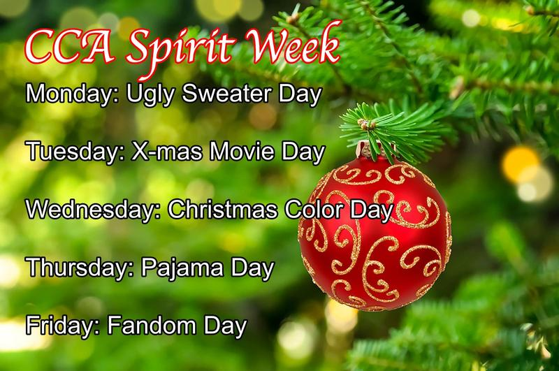 A Christmas tree and ornament that details CCA's Spirit Week.