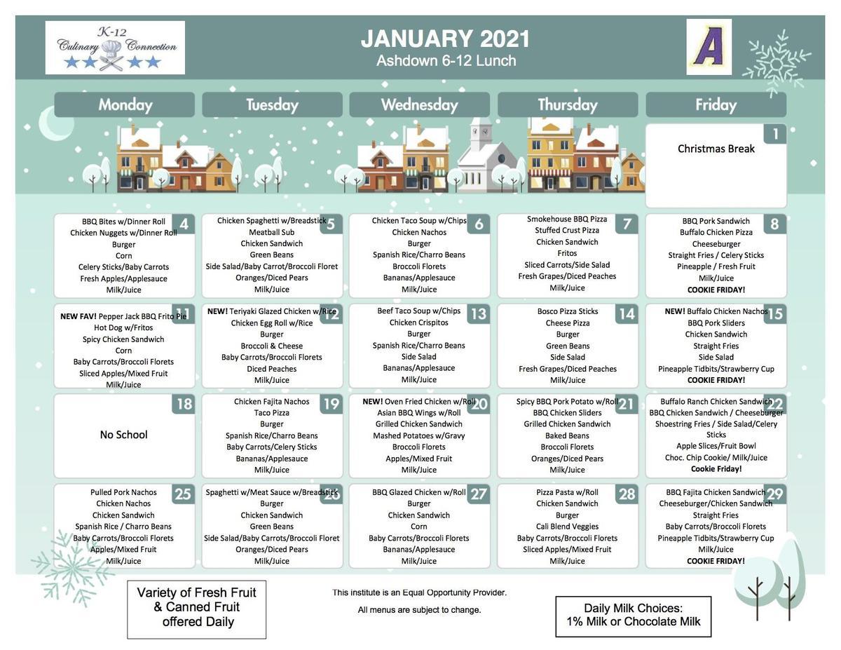 6-12 January Lunch Menu