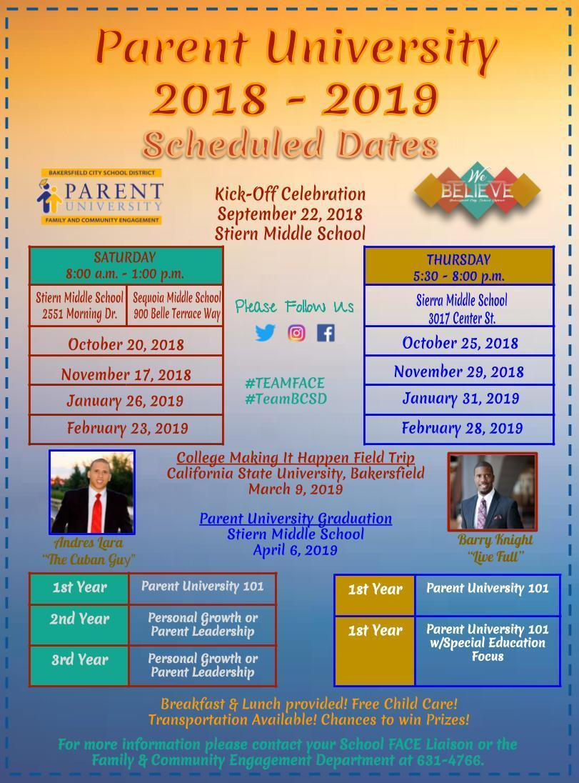Parent University information, dates & times