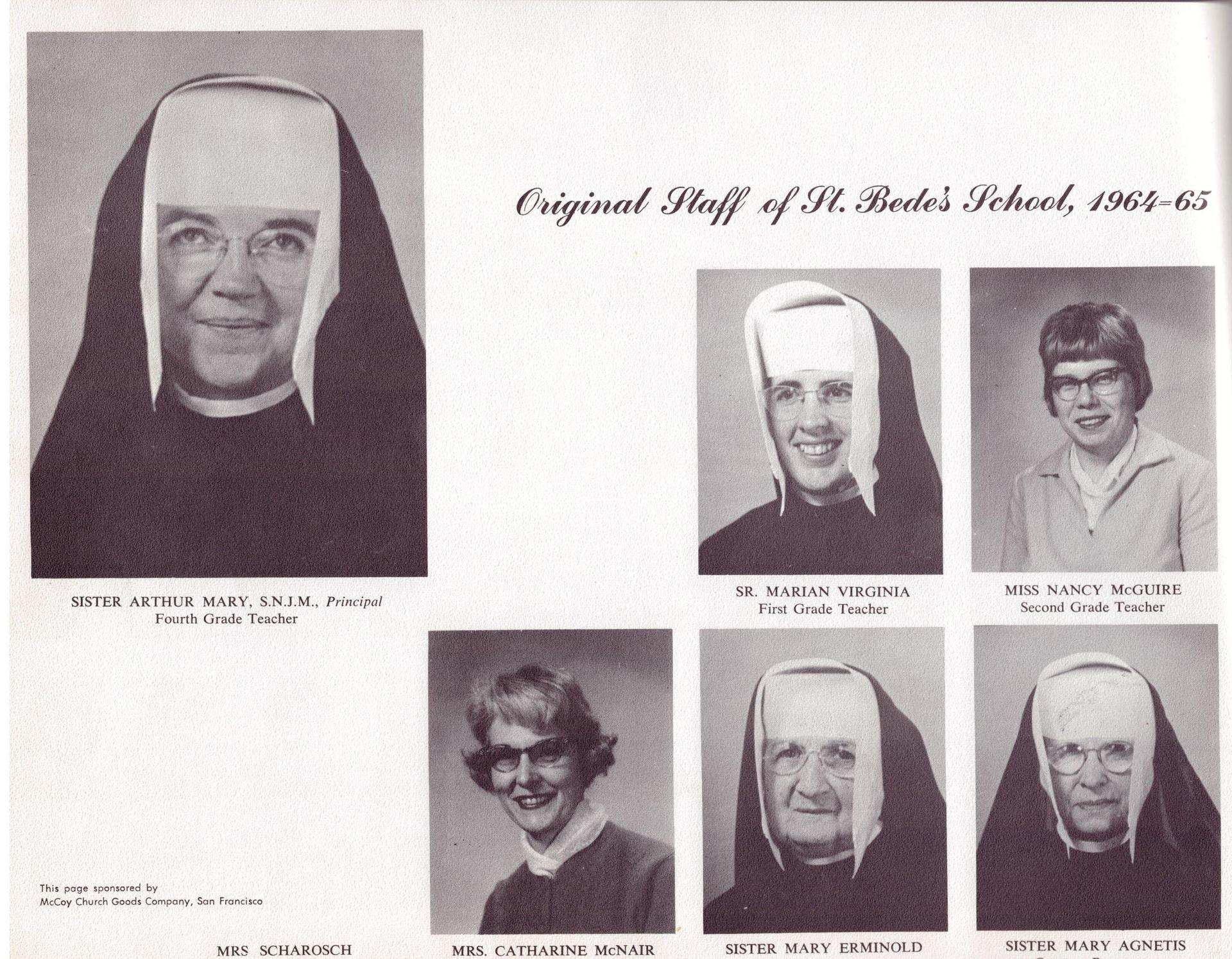 The original staff of St. Bede Catholic School in 1964.