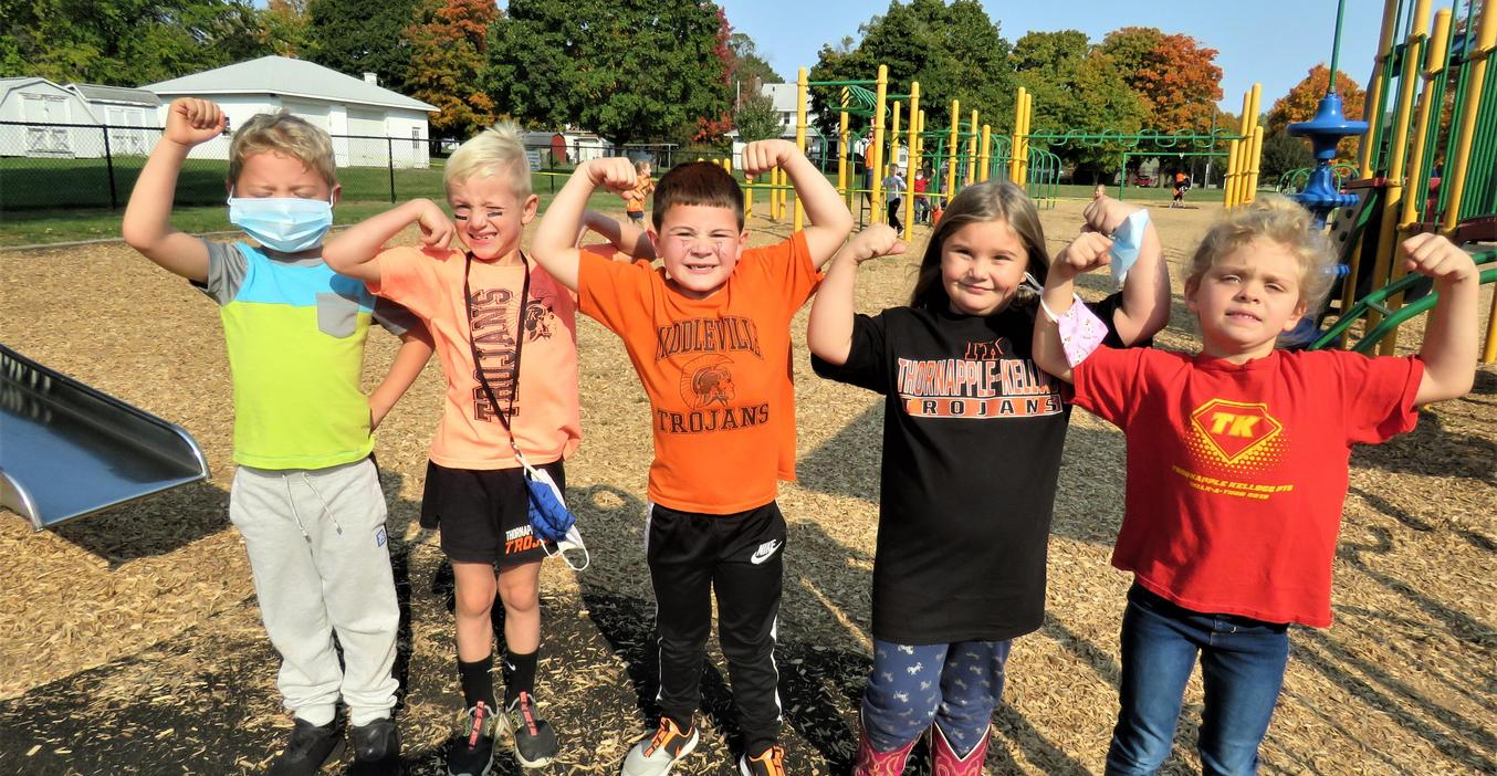 McFall students flex their muscles show they are TK Strong!