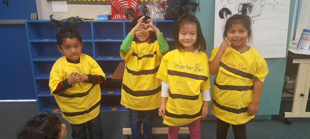 Four students stand in bee costumes.