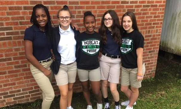 The EJHS Beta Club elected the following individuals for the 2018-2019 school year: (L to R) President- Alivia C, Vice President- Reagan H, Secretary- Josi L, Treasurer- Kyra D, Parliamentarian- Olivia P