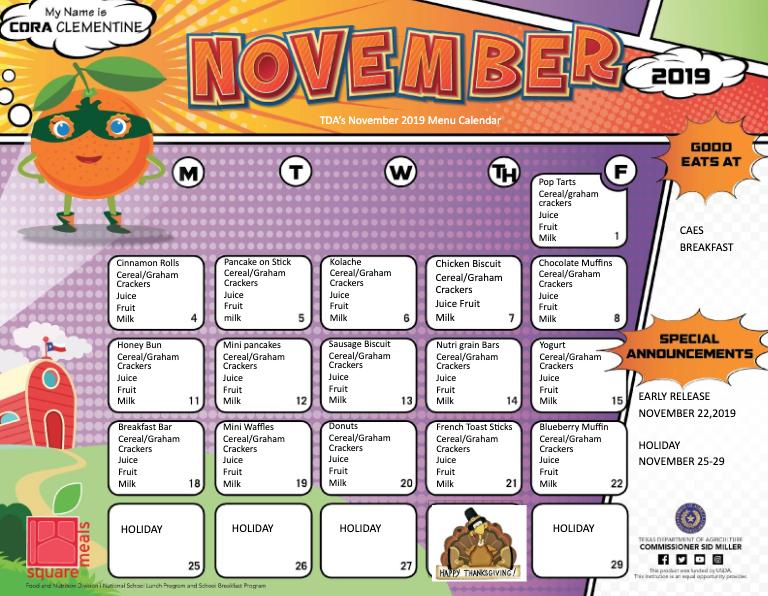Elementary Food Menus - November Featured Photo