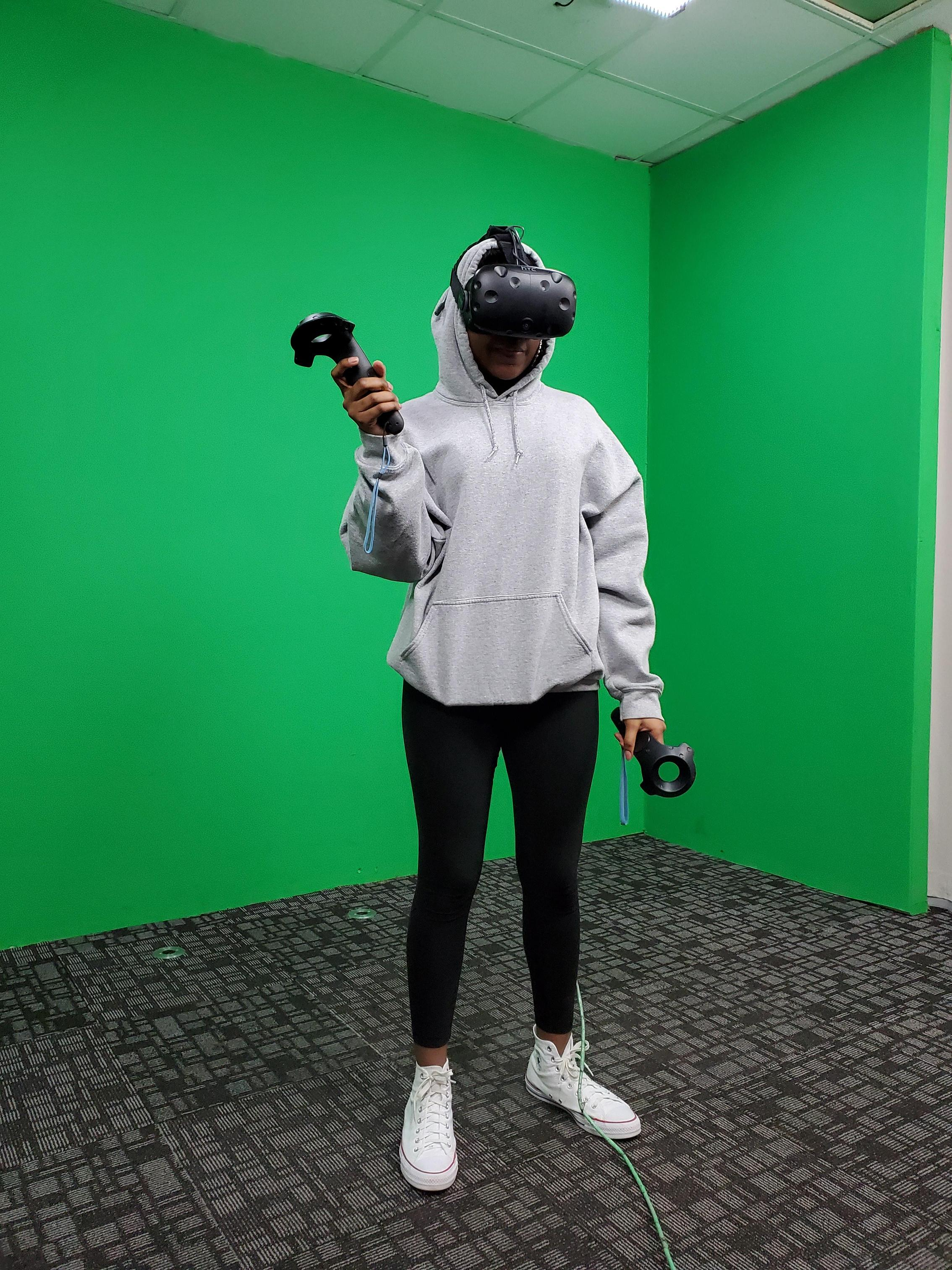 student in vr room
