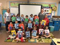 "Kindergarten students at PBES enjoyed creating their picture of ""Blue Dog"".  These were done under the direction of the Acadiana Center of Performing Arts."