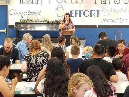 Principal, Mrs. Robilotta, speaking at Back to School Night