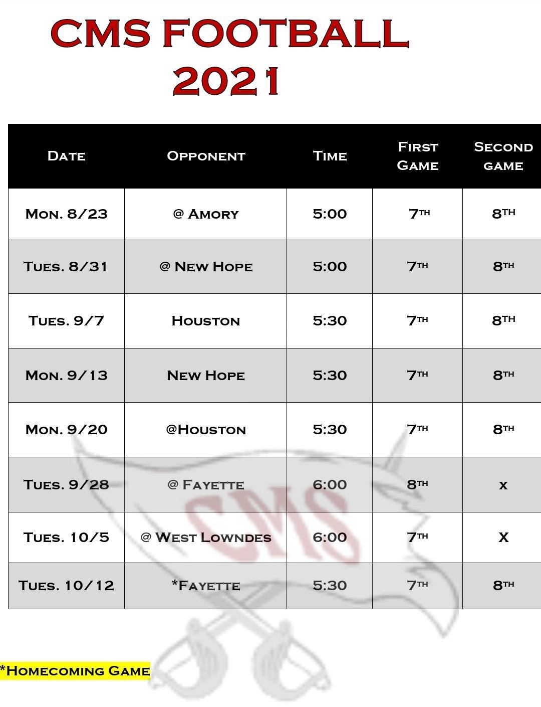 2021 CMS Football Schedule