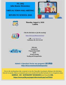 P.S. 20 Return to School Parent Meeting Flyer