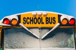 Front of Snowy Bus