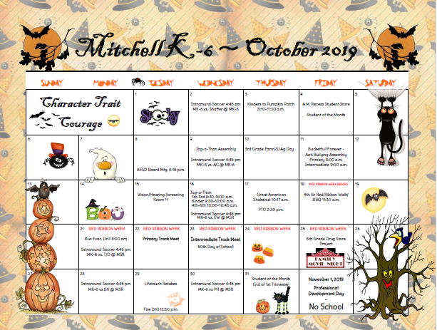 Parent calendar october