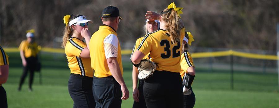 Girls varsity softball team in a huddle