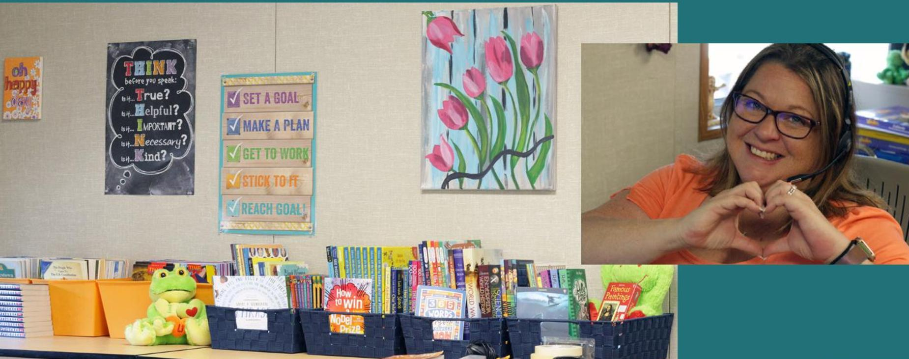 Mrs. Naves, fifth grade teacher and her classroom