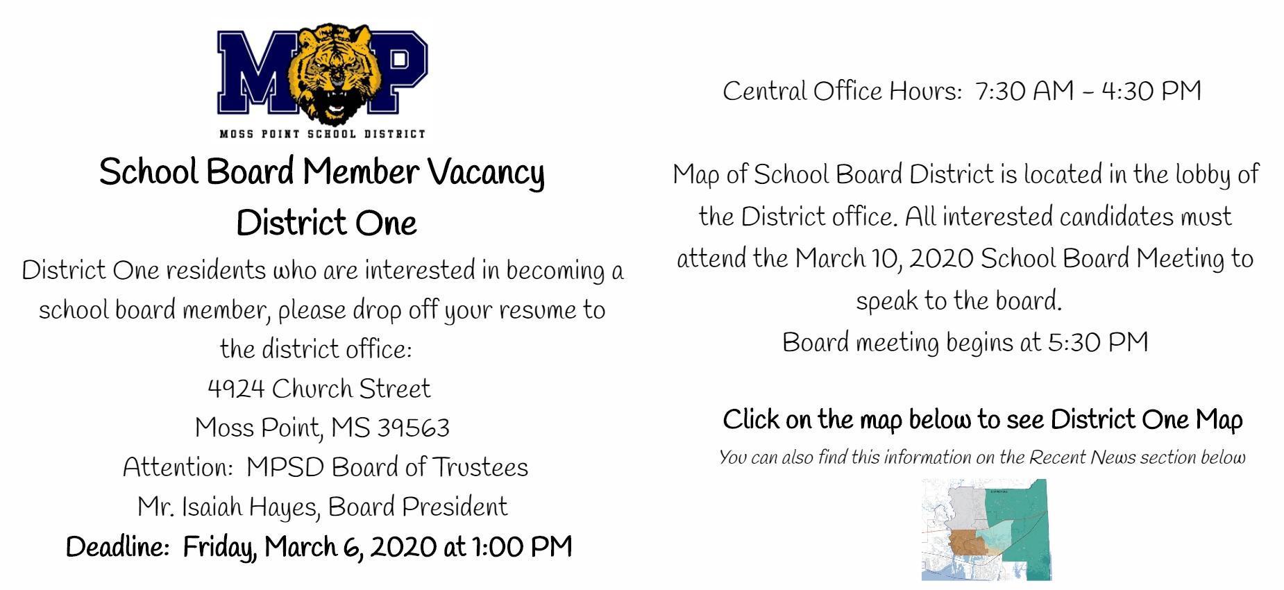 school board member vacancy