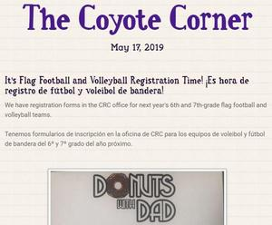 Screen shot of our 5/17 newsletter