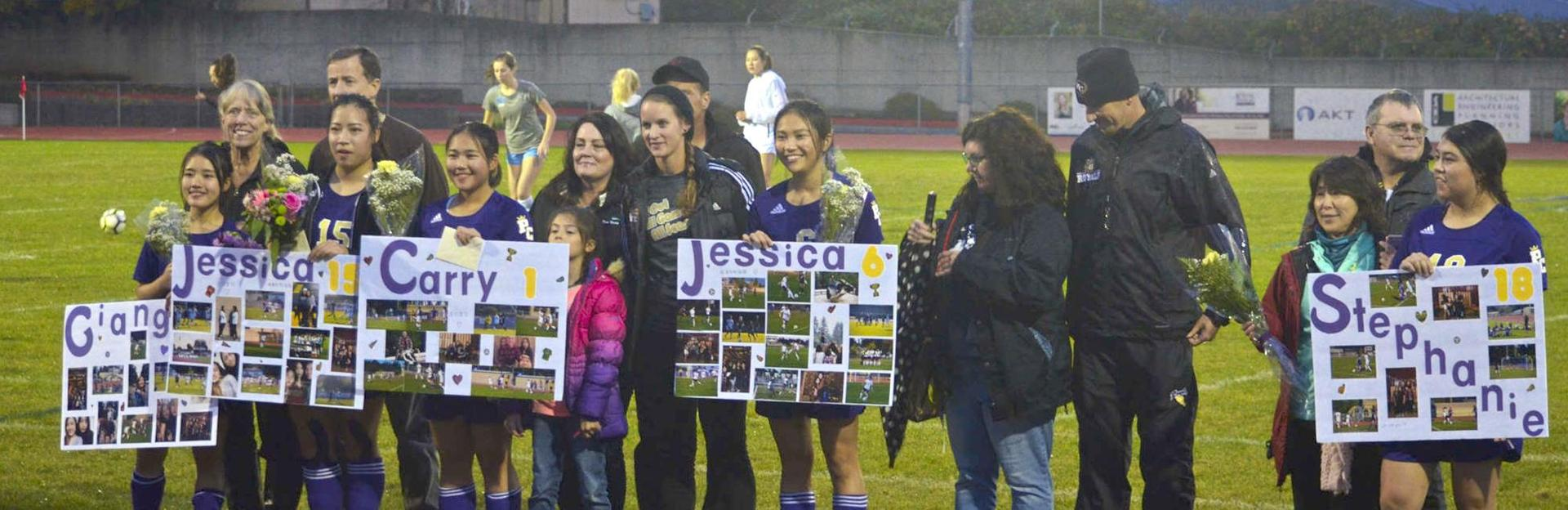 Senior Night recognition for Girls HS Soccer