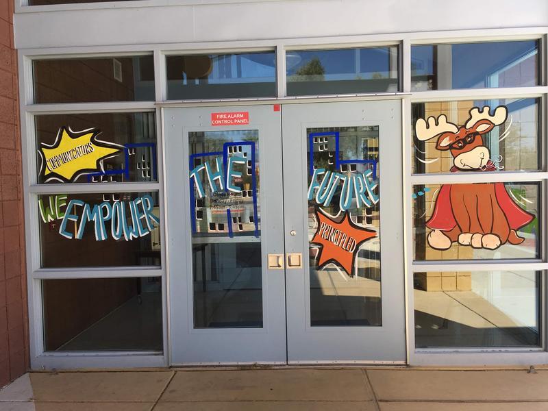 photo of front doors of school