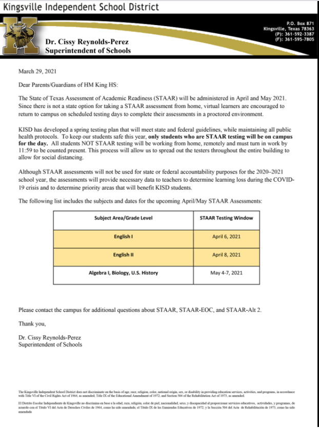 STAAR 2021 Letter