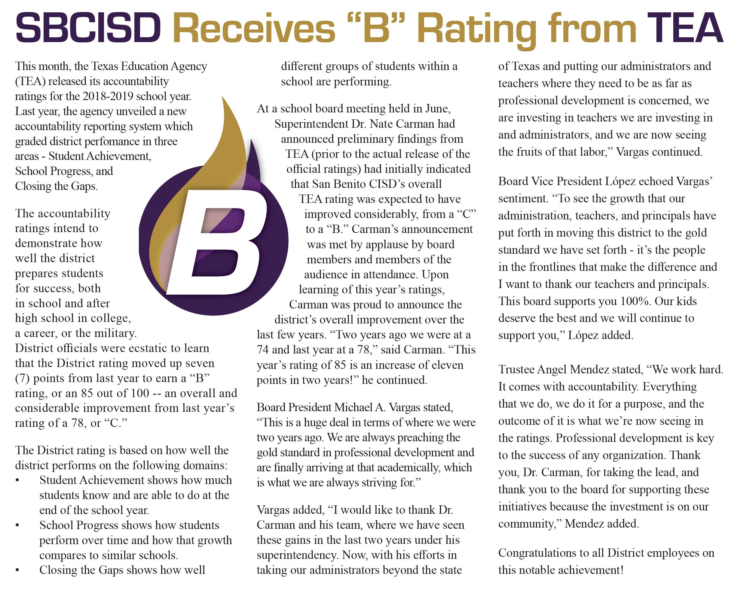 SBCISD Receives B Rating from TEA
