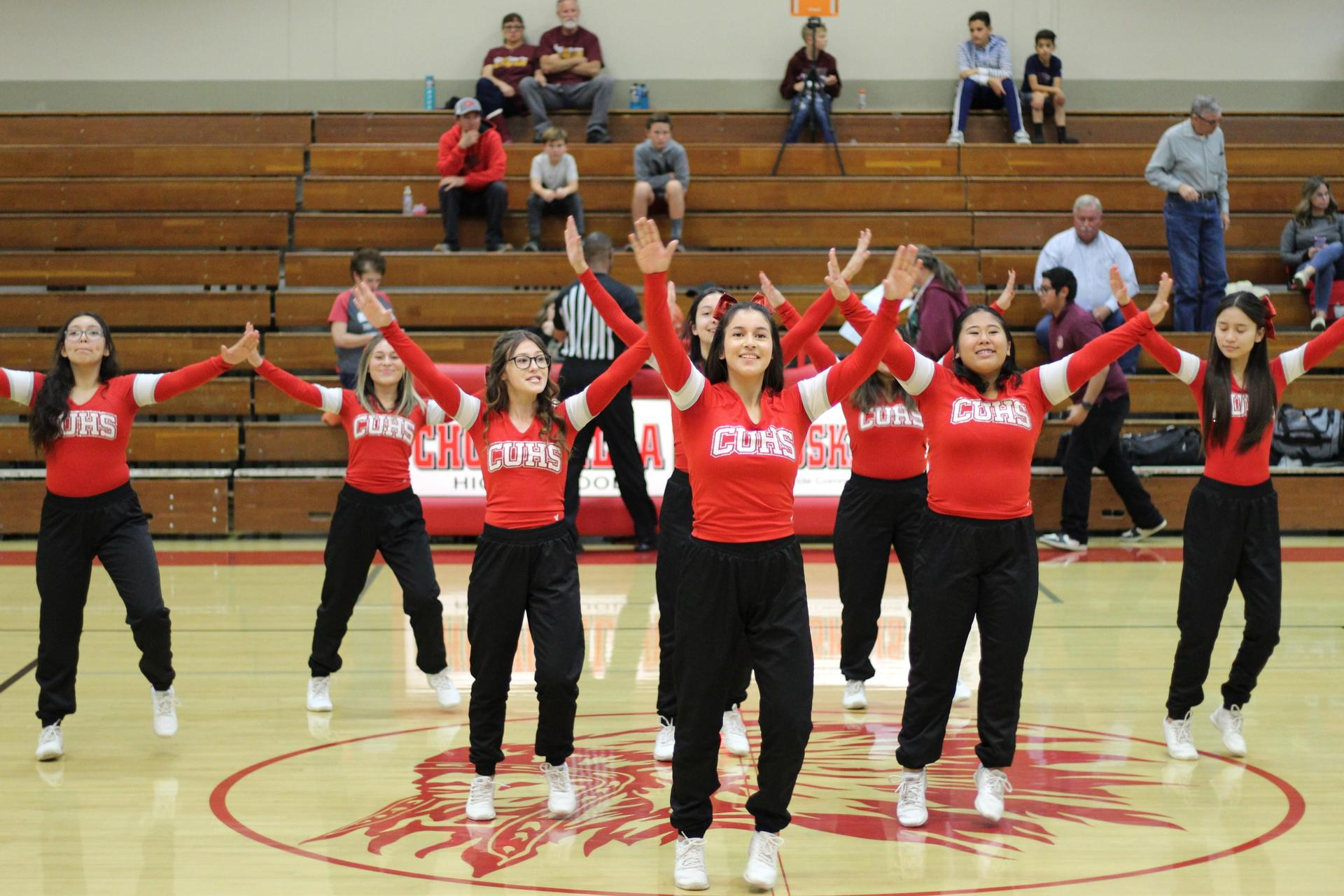 cheerleaders at the basketball game