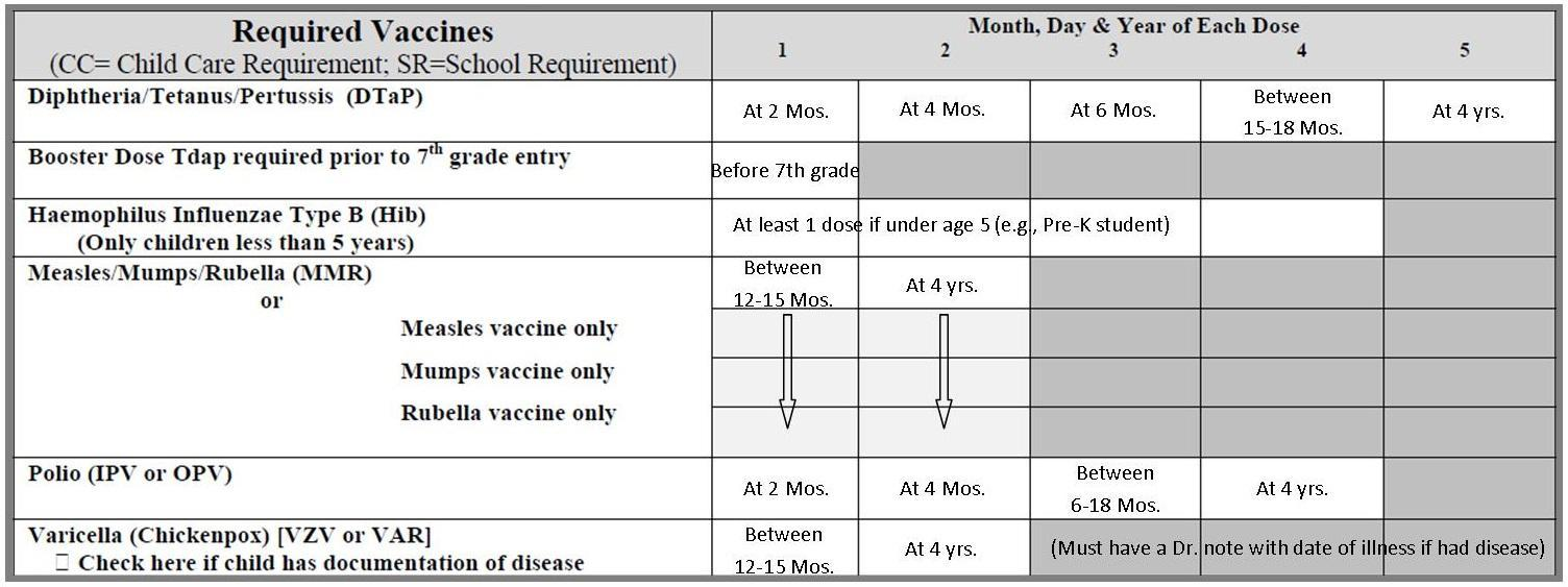 Required Vaccines via Blue Card
