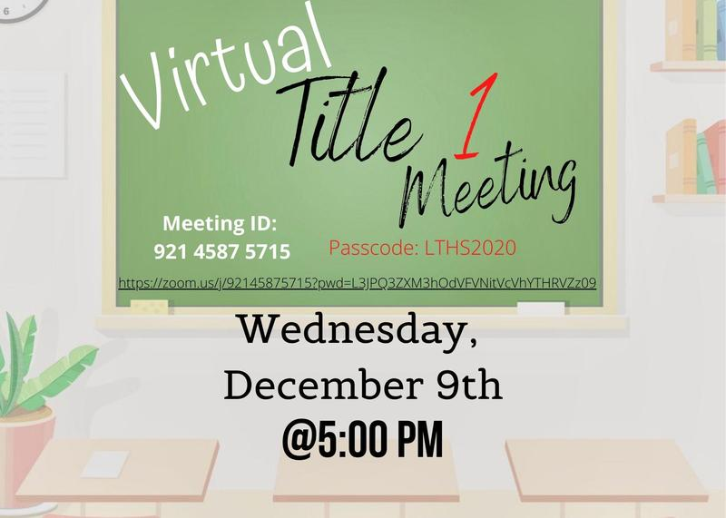 Zoom Title 1 meeting Dec. 9th @5pm
