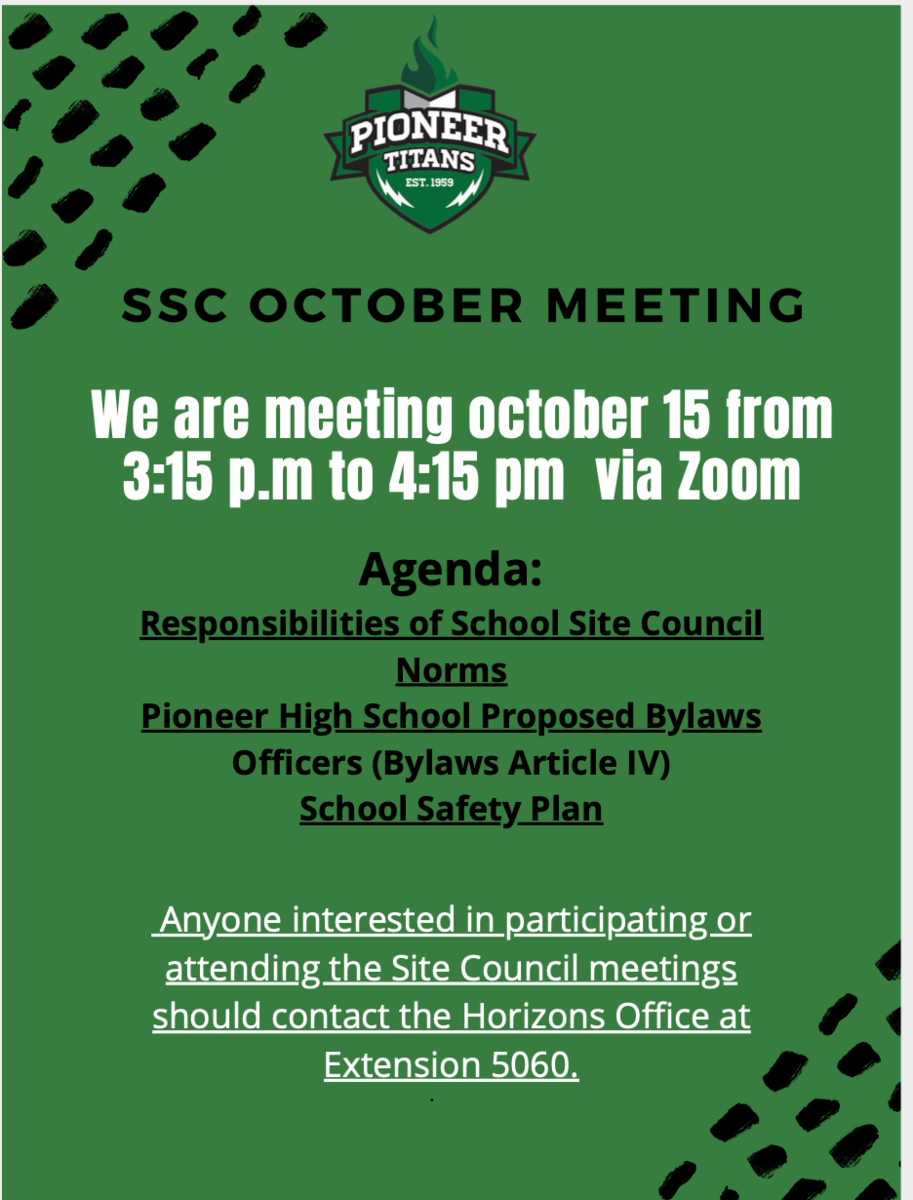 Thursday, October 15 SSC Meeting