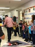 Students and staff wished Mr. Oldaker well as he walked the halls for the last time as a kindergarten teacher.